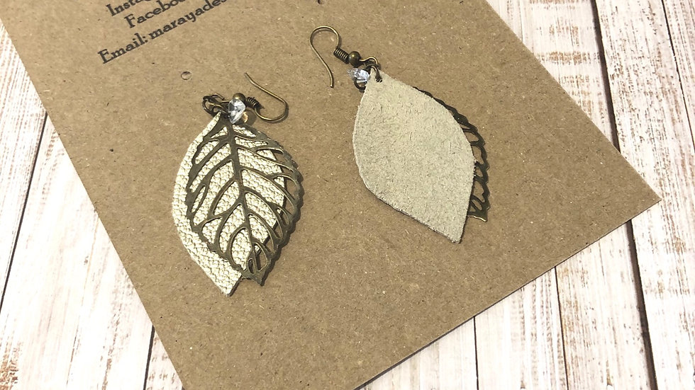 Leaf earrings bronze with pale gold leather and stone