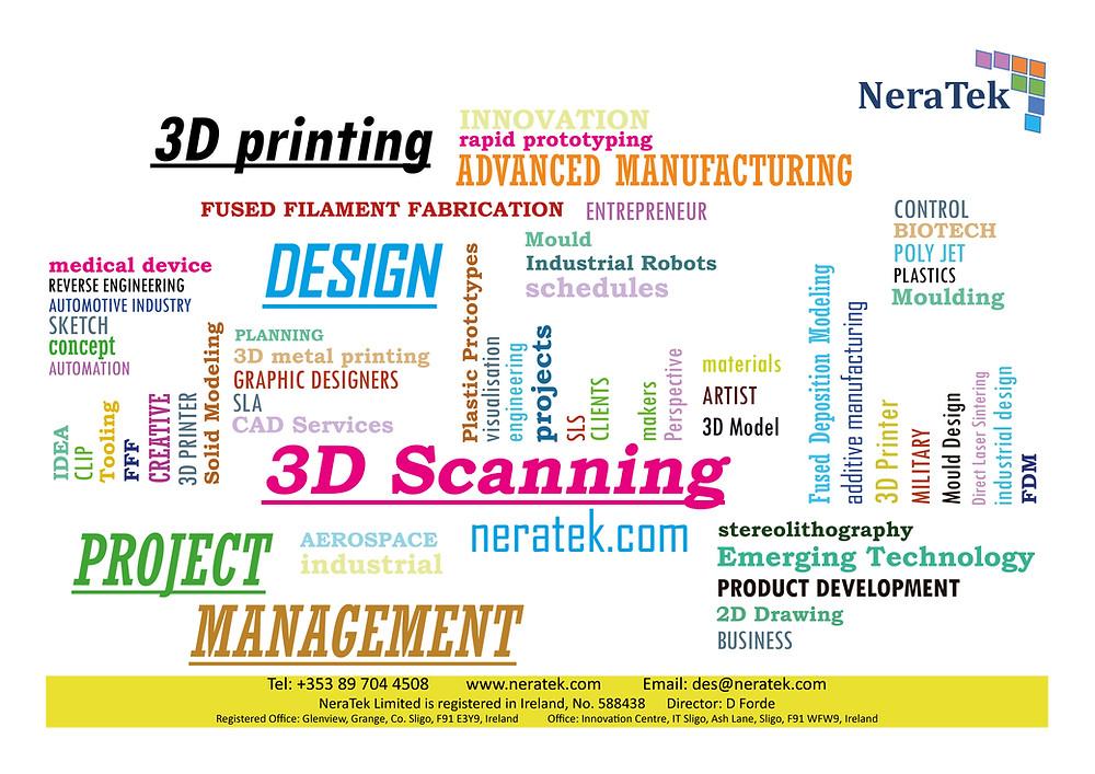 Neratek, 3D Printing, 3D Scanning, 2D 3D Cad, Project Management