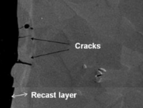 Close-up image of metal part with recast layer and cracks labeled. Electrochemical machining creates neither surface imperfection.