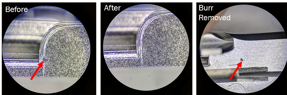 Burr removal progression showing distortion where burr was