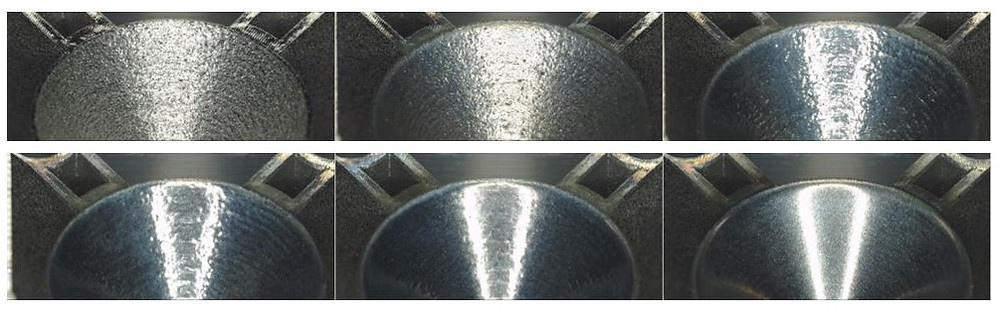 Progression of part to have smoother and smoother surface finish