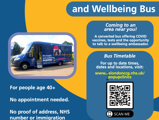 Wellbeing Bus at Brockwell Park tomorrow, 2nd Aug