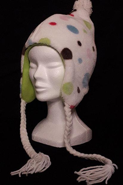 Bonnet polaire enfant pois et vert