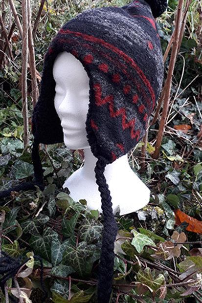 Bonnet polaire gris rouge et noir