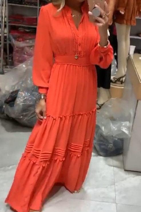 Vestido longo crepe