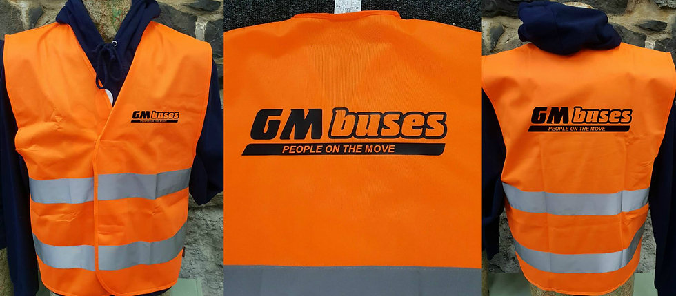 gm buses any bus company hi visibility vest gift bus preservation society front and back.j
