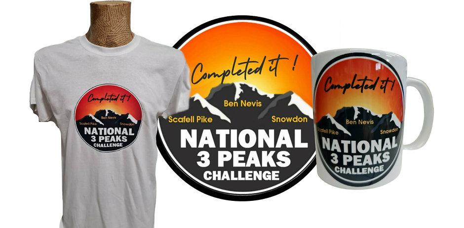 National Three 3 Peaks Challenge T Shirt Mug Souvenir present gift congratulations achieve
