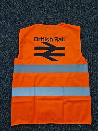 British Rail hi visibility vest flat tabbard jacket BR old logo hoody marvelous Clitheroe