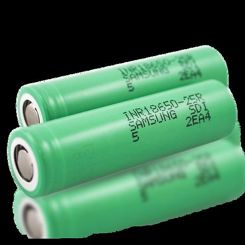 Sumsung Genwine 2pc 25R 18650 Li-ion Battery 2.500MAH 3.7V 20A