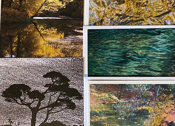 Pack of 5 Greetings Cards - Water & Trees