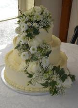 Three-Tiered White Wedding Cake