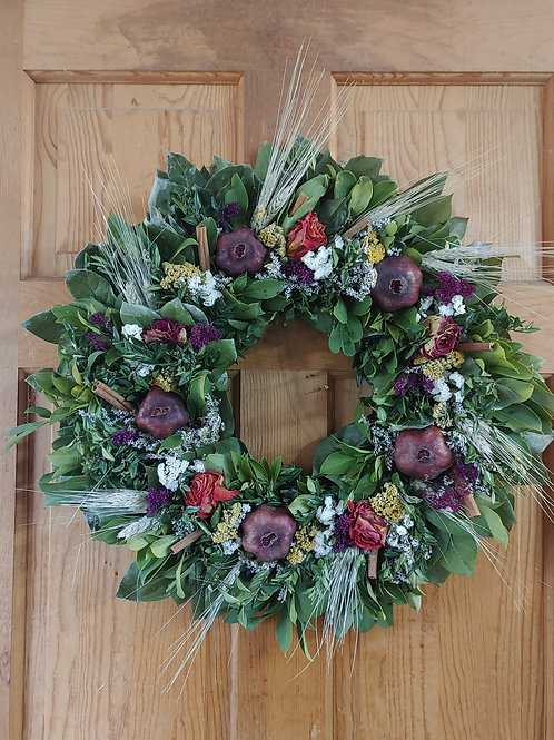 Lemon leaf wreath, decorated