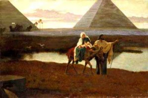 Joseph leading Jesus, Number Two Son, out of Egypt after God called.