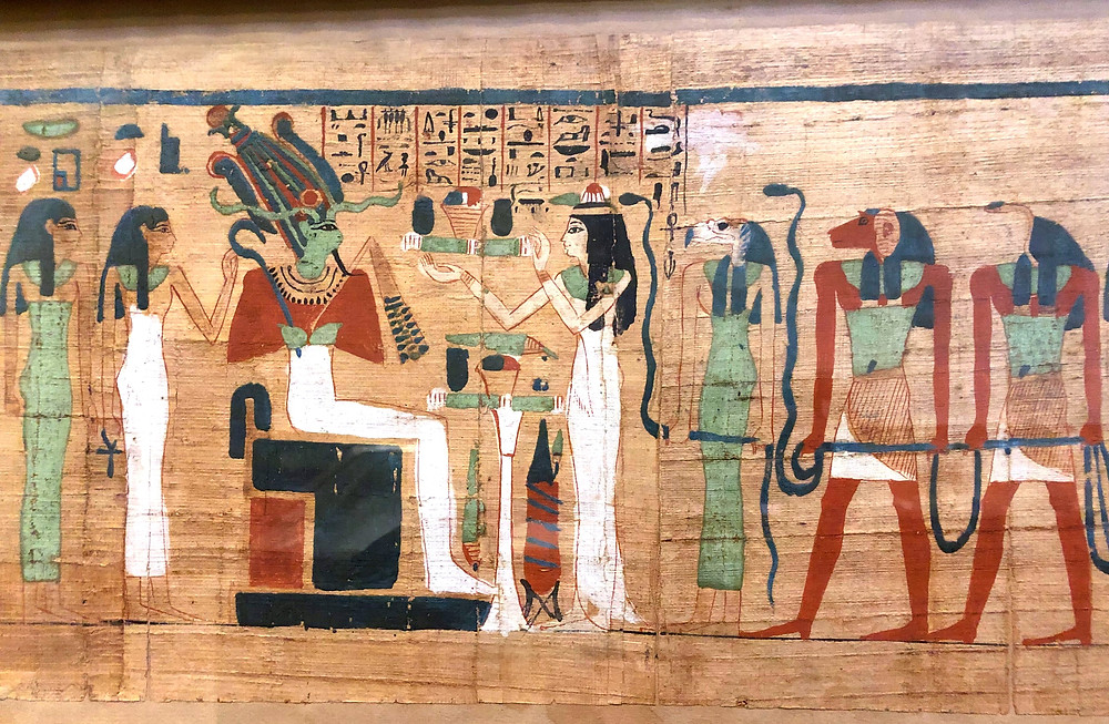 Original Egyptian Papyrus scroll depicting Osiris