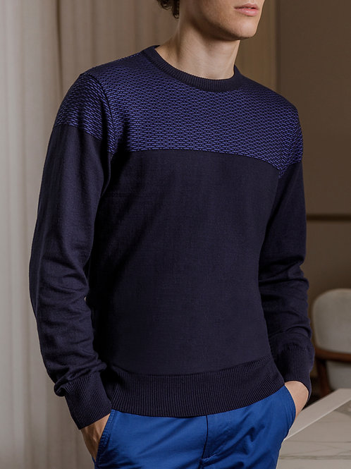 Suéter decote redondo links marinho