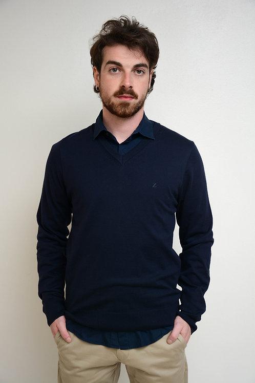 Suéter Clássico Decote V Marinho