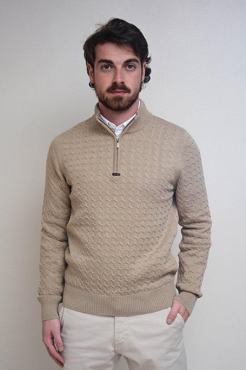 Suéter Trança Gola Portuguesa Bege