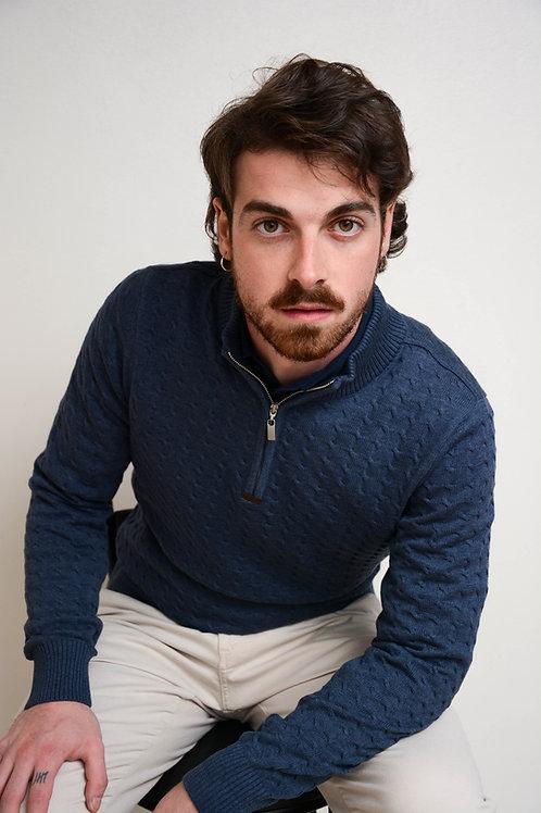 Suéter Trança Gola Portuguesa Azul