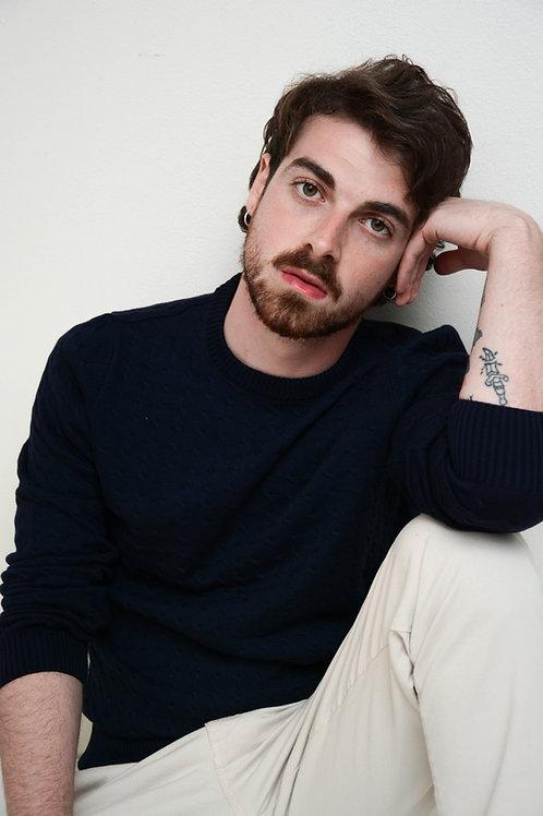 Suéter Trança Decote Redondo Marinho