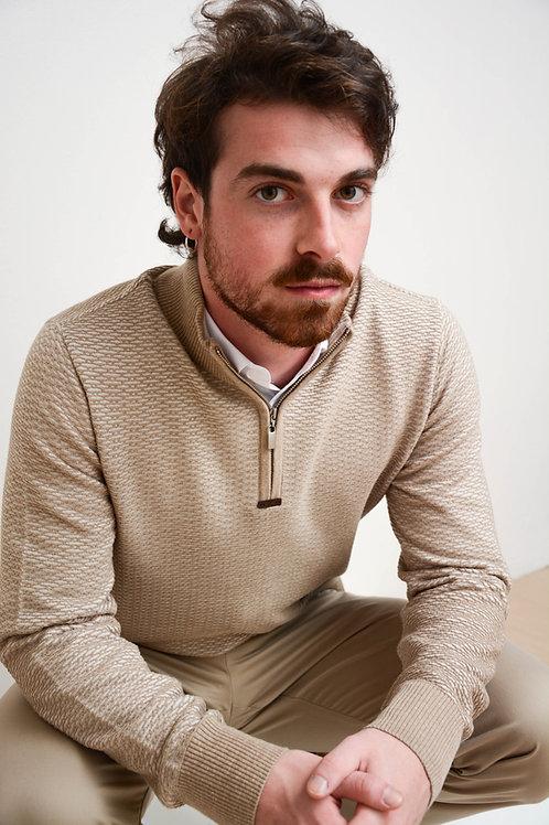 Suéter Listras Gola Portuguesa Bege