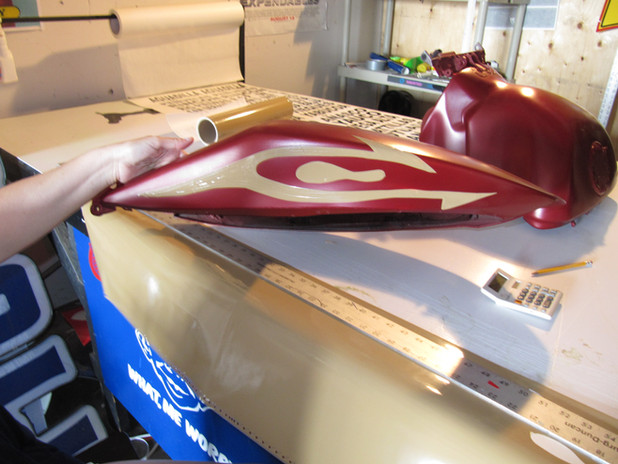 motercycle parts paintedred gold vinyl