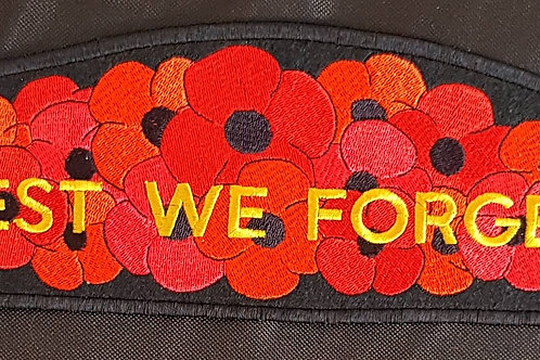 """Long Poppy with """"Lest We Forget"""" Embroidered Remembrance Back Patch 60"""