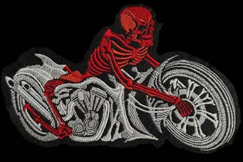 Red Skeleton & Bike Embroidered Biker Patch