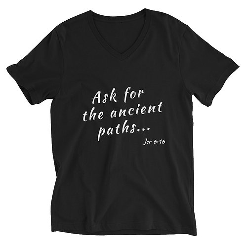Jer 6:16 Unisex Short Sleeve V-Neck T-Shirt