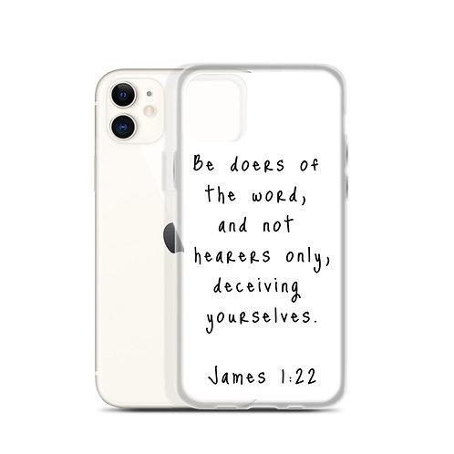 James 1:22 iPhone Case White