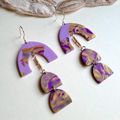 JOSEPHINE Earrings - lilac/gold