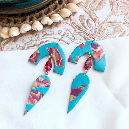 ANGELINA Earrings - aqua/red