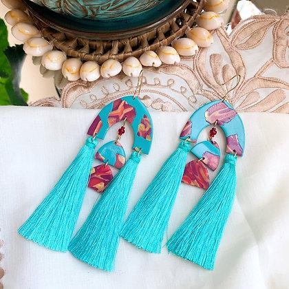 ALITA Earrings - aqua/red