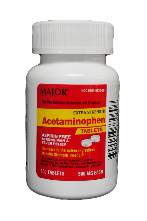 Acetominophen Extra Strength Tablets, 100 ct