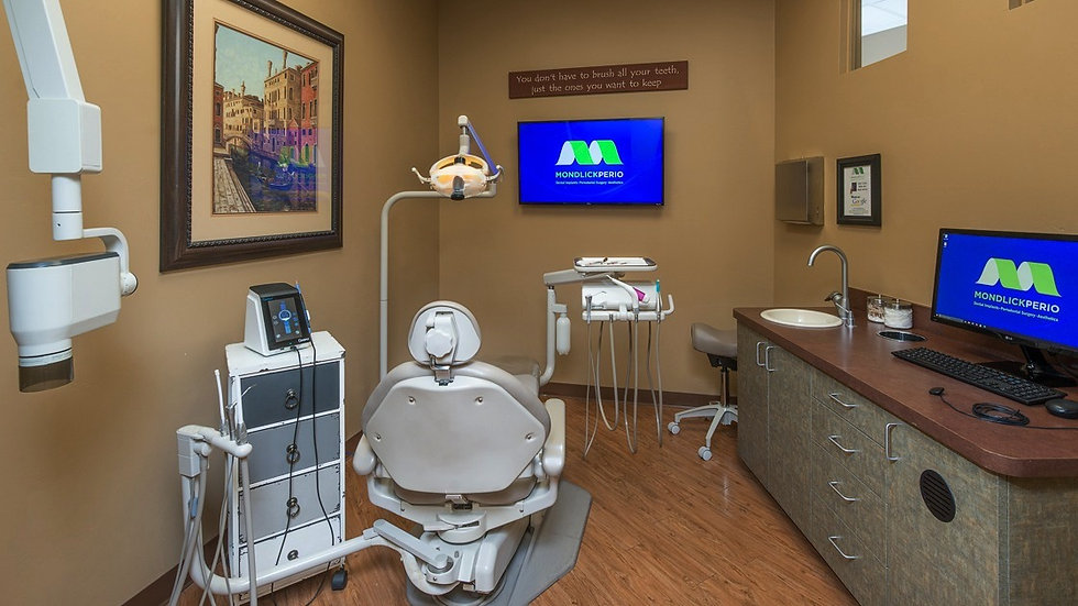 Clean, tidy dental treatment room with cutting edge technology