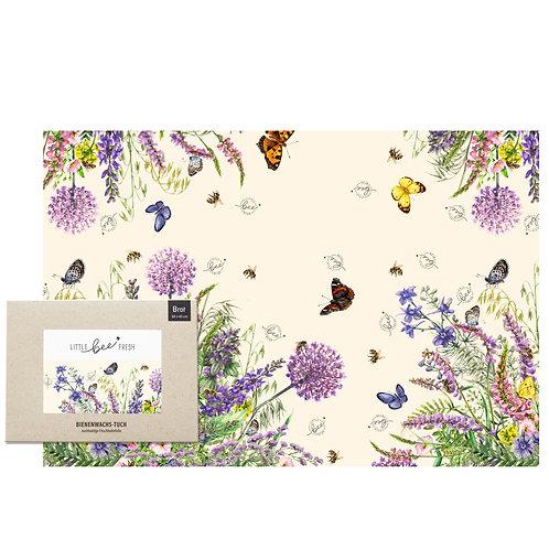 Bio-Bienenwachstuch Brottuch XXL (60×40 cm) – Bunte Blumenwiese