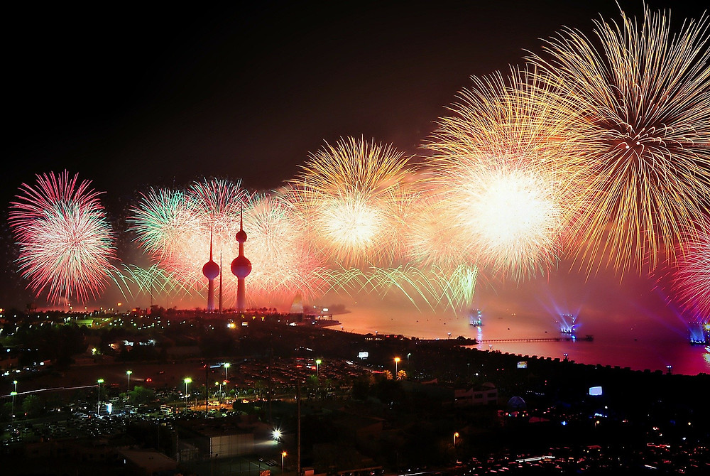 Fireworks, Kuwait, Towers, waterfront