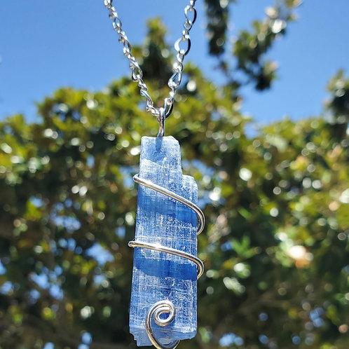 Gemmy blue kyanite necklace