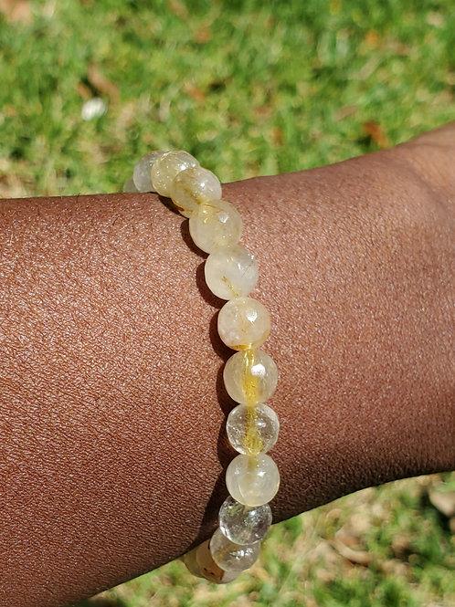 Gold rutilated quartz bracelet