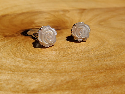 Pink mother of pearl rose studs
