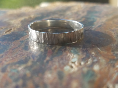 Tree Bark Slim Ring