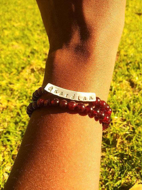 Guardian garnet bracelet set
