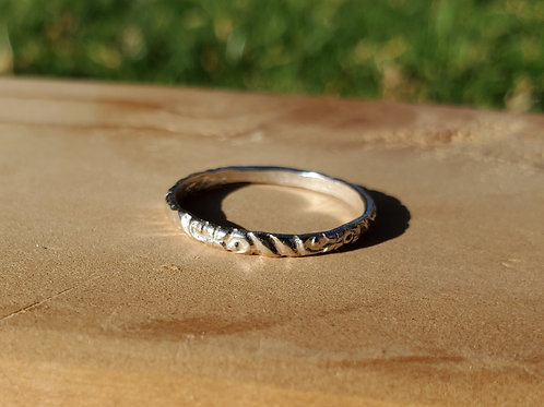 Patterned silver stacking ring