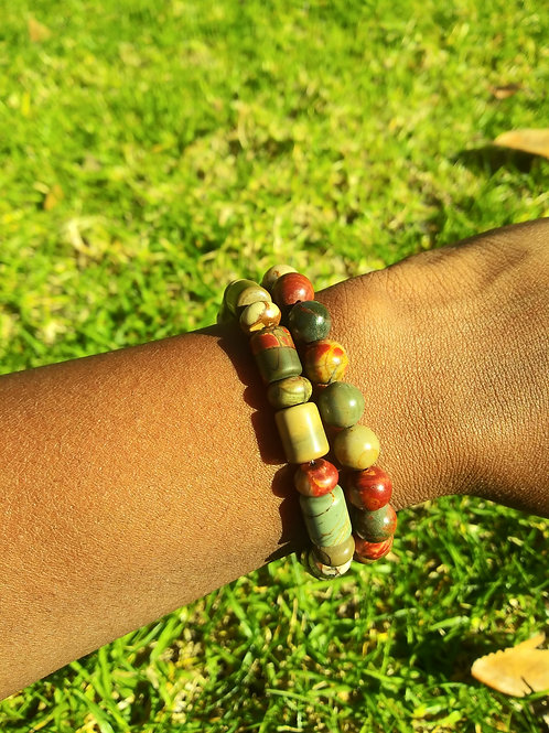 Red creek jasper bracelet set