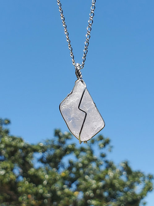 Sterling silver wrapped kunzite necklace