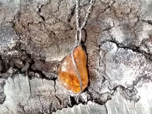 Raw citrine necklace