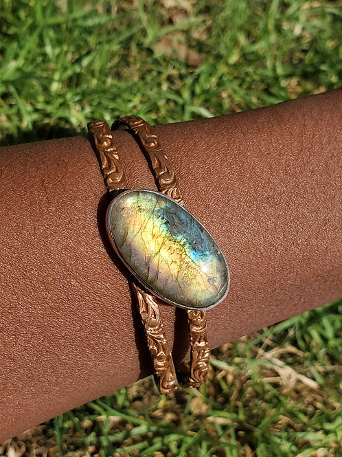 Labradorite mixed metal cuff