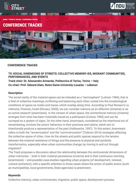 T9: SOCIAL DIMENSIONS OF STREETS: COLLECTIVE MEMORY-IES, MIGRANT COMMUNITIES, PERFORMANCES, AND EVENTS Track chair: Dr. Alessandro Armando
