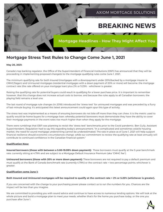 Mortgage Stress Test Rules to Change June 1, 2021