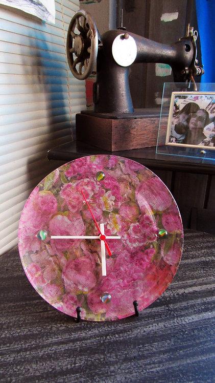 Relógio Flores Prato de Vidro