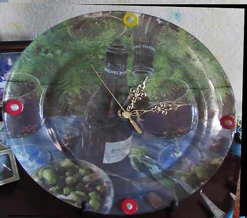 Relógio Vinhedo Prato de Vidro